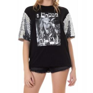 T-shirt ShopArt Nera Donna Paillets Maniche Argento  art. 20ESH60459 NER