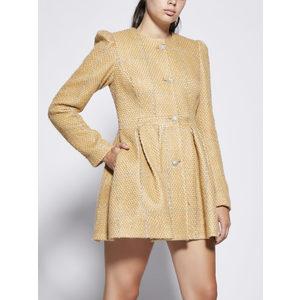 Cappotto Donna Color Sabbia Con Pieghe Godet Giulia N Righe Argento art. GI2077