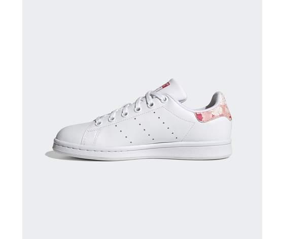 Scarpe bambina bianche adidas stan smith stampa tallone floreale rosa art. fv7405 4