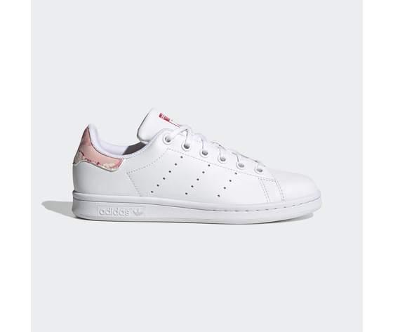 Scarpe bambina bianche adidas stan smith stampa tallone floreale rosa art. fv7405