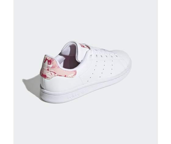 Scarpe bambina bianche adidas stan smith stampa tallone floreale rosa art. fv7405 3