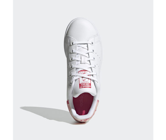 Scarpe bambina bianche adidas stan smith stampa tallone floreale rosa art. fv7405 1