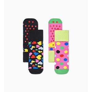 Calze Bambino Antiscivolo Fantasia Cuori Happy Socks Heart Anti-Slip Socks 2-Pack art. KHEA02 9300