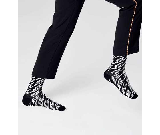 Calze uomo nere e bianche flash lightning sock happy socks art. fll01 9100 %282%29