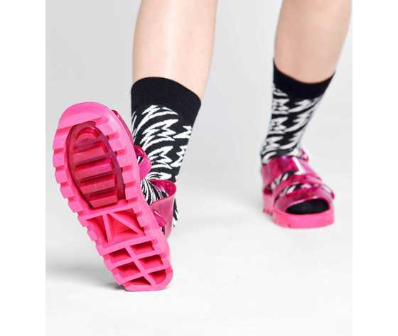 Calze uomo nere e bianche flash lightning sock happy socks art. fll01 9100 %281%29