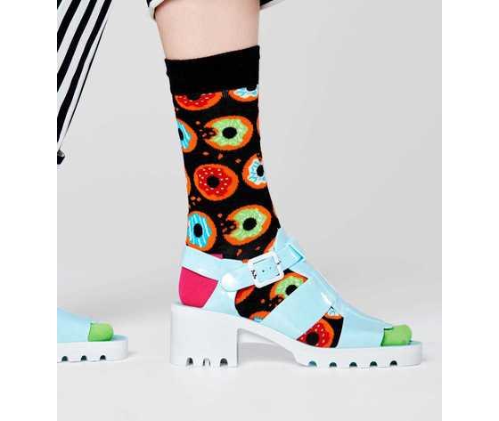 Calze uomo fantasia ciambelle fondo nero happy socks donut sock art. don01 9300 %283%29