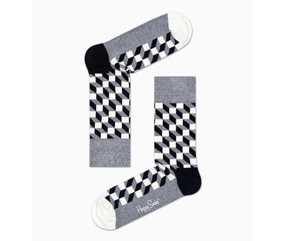 Calze uomo sfumature rettangoli bianco grigio e nero happy socks filled optic sock art. fo01 901 %283%29