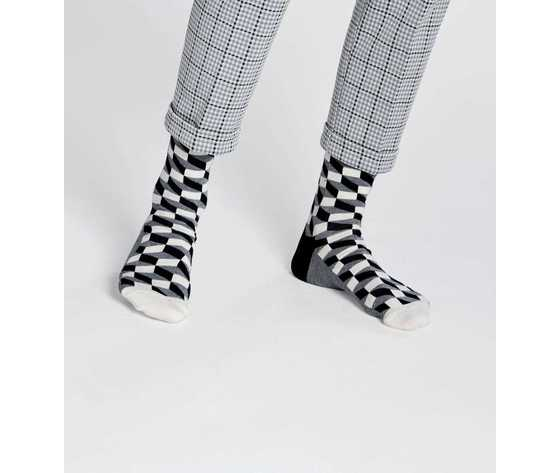 Calze uomo sfumature rettangoli bianco grigio e nero happy socks filled optic sock art. fo01 901 %282%29