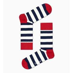 Calze Uomo Righe Bianco e Blu Con Dettagli In Rosso Happy Socks Stripe Sock art. SA01 045