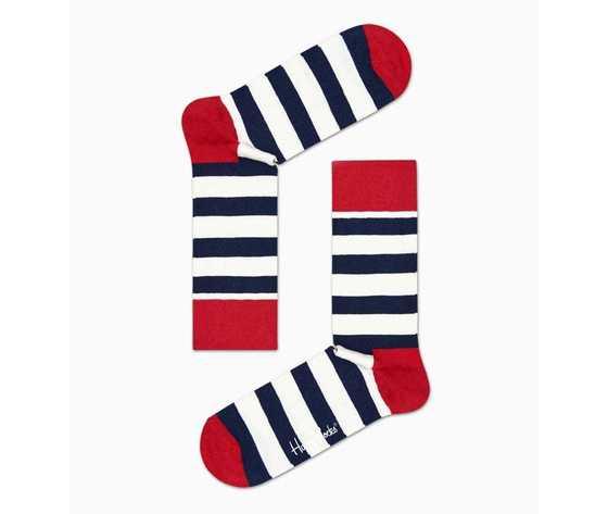 Calze uomo righe bianco e blu con dettagli in rosso happy socks stripe sock art. sa01 045 %284%29