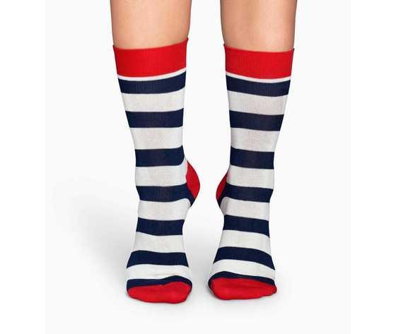 Calze uomo righe bianco e blu con dettagli in rosso happy socks stripe sock art. sa01 045 %282%29