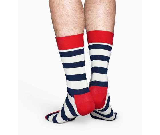 Calze uomo righe bianco e blu con dettagli in rosso happy socks stripe sock art. sa01 045 %283%29
