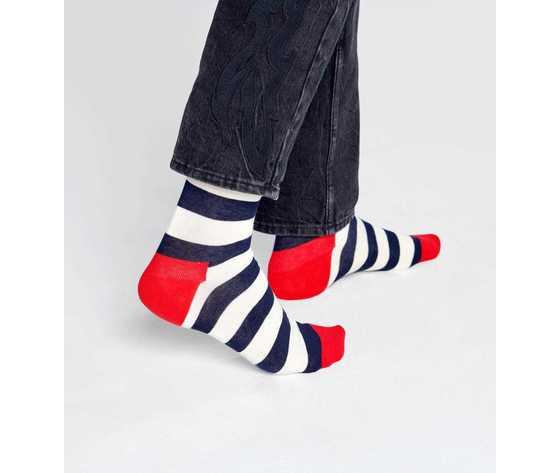 Calze uomo righe bianco e blu con dettagli in rosso happy socks stripe sock art. sa01 045 %281%29
