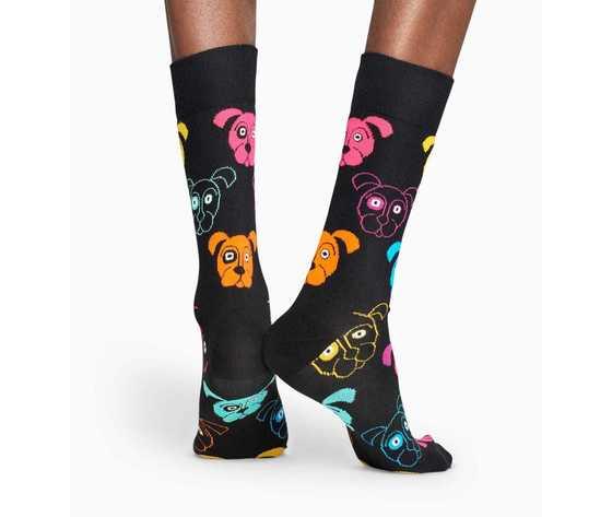 Calze donna fantasia cani colorati sfondo nero happy socks dog sock art. dog01 9001 %284%29