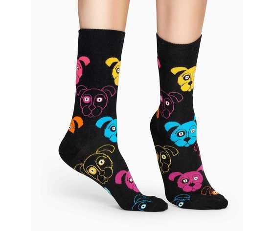 Calze donna fantasia cani colorati sfondo nero happy socks dog sock art. dog01 9001 %283%29