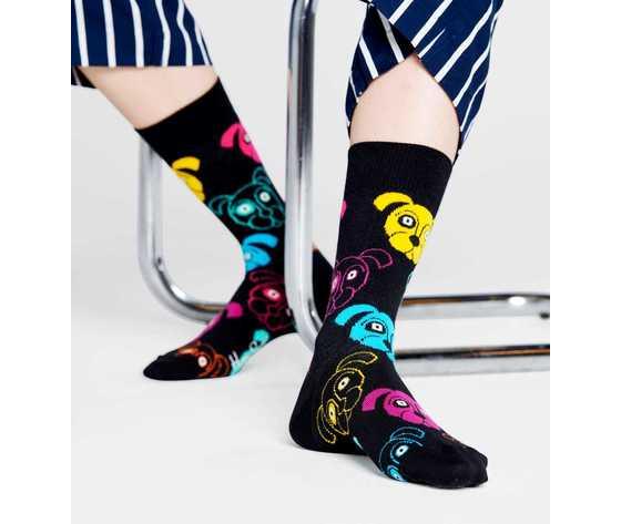 Calze donna fantasia cani colorati sfondo nero happy socks dog sock art. dog01 9001 %282%29