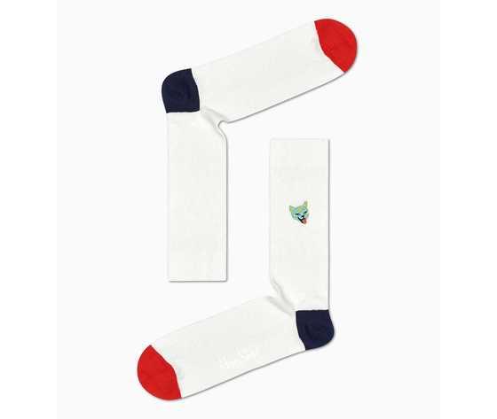 Calze uomo bianche a coste con gatto colorato happy socks ribb embroidery cat sock art. recat01 1000 %281%29