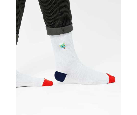 Calze uomo bianche a coste con gatto colorato happy socks ribb embroidery cat sock art. recat01 1000 %282%29