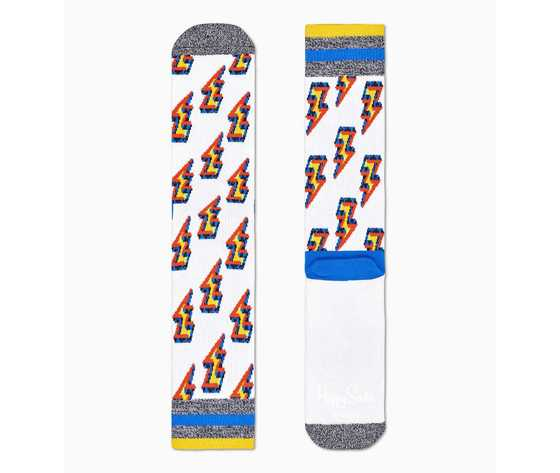 Calze bianche loghi fulmine giallo happy socks athletic eternity flash crew sock art. atetf27 1300