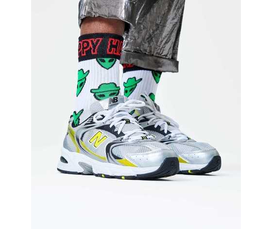 Calze bianche alieno cowboy verde happy socks athletic space cowboy 34 crew sock art. atscb14 1300 %281%29