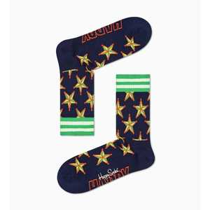 Calze Nere Stella Sceriffo Gialla Happy Socks Athletic Sheriff Star 3/4 Crew Sock art. ATSTA14 6500