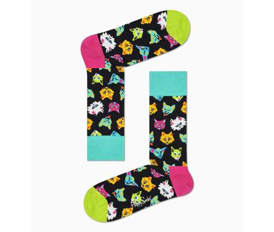 Calze donna scatola set regalo fantasia gatti happy socks cat lover gift box 2 pack art. xcat02 6301 %282%29