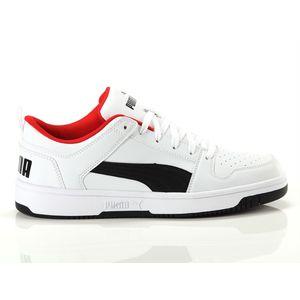 Scarpe Uomo Puma Rebound Layup Low Bianco / Nero / Rosso Sneakers Basse art. 369866 01