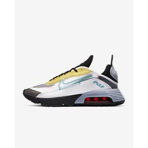 Scarpe Uomo Nike Air Max 2090 Bianco/Nero/Speed Yellow/Bleached Aqua Sneakers Basse art. CT1091 100