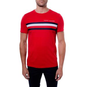 T-shirt Uomo Tommy Hilfiger Rossa con Fascia Rossa Bianca e Blu e Logo art. MW0MW14337XLG