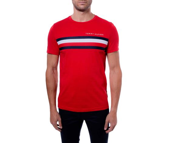 T shirt uomo tommy hilfiger rossa con fascia rossa bianca e blu e logo art. mw0mw14337xlg
