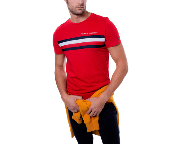 T shirt uomo tommy hilfiger rossa con fascia rossa bianca e blu e logo art. mw0mw14337xlg 1