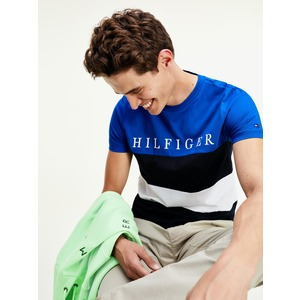 T-shirt Uomo Tommy Hilfiger Blu Striper Colourblock con Righe Orizzontali  Nero Bianco e Logo art. MW0MW143150A5