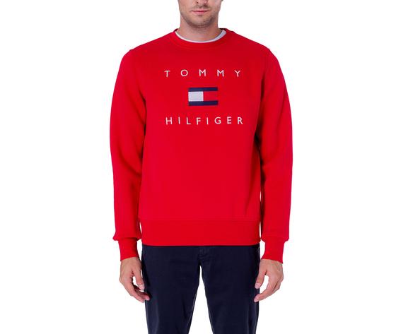 Felpa uomo tommy hilfiger rossa con logo flag regular art. mw0mw14204xlg