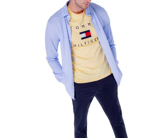 T shirt uomo tommy hilfiger gialla sun ray flag logo art. mw0mw14313zfb 2