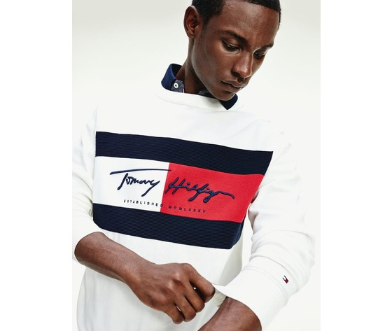 Maglione tommy hilfiger bianco logo bandiera flag patch crew autograph flag sweater art. mw0mw14424ybl