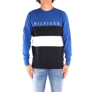 Maglione Uomo Tommy Hilfiger Blu Scollo Tondo Colourblock con Righe Orizzontali Nero Bianco e Logo art. MW0MW14448 0A5