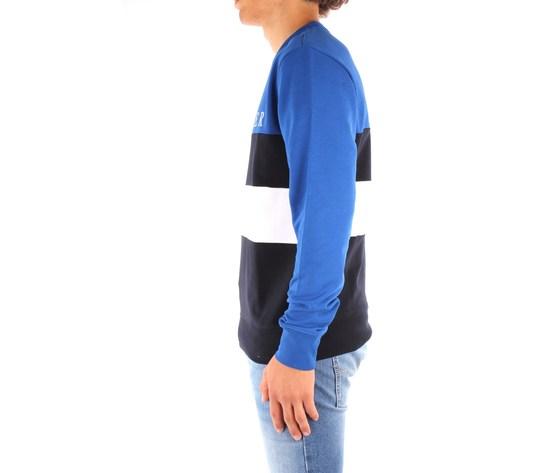 Maglione uomo tommy hilfiger blu scollo tondo colourblock con righe orizzontali nero bianco e logo art. mw0mw14448 0a5 1