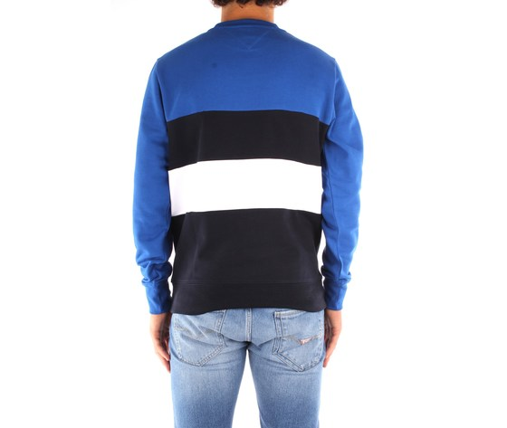 Maglione uomo tommy hilfiger blu scollo tondo colourblock con righe orizzontali nero bianco e logo art. mw0mw14448 0a52