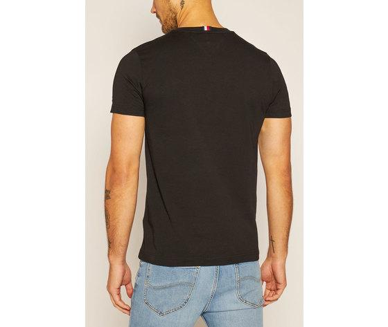 T shirt uomo nera tommy hilfiger signature girocollo cotone bio firma art. mw0mw14303 bds %283%29