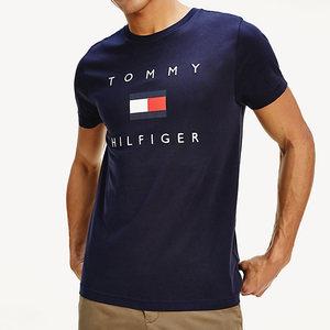 T-Shirt Uomo Blu Tommy Hilfiger Desert Sky Logo Flag Frontale Cotone Bio art. MW0MW14313 DW5