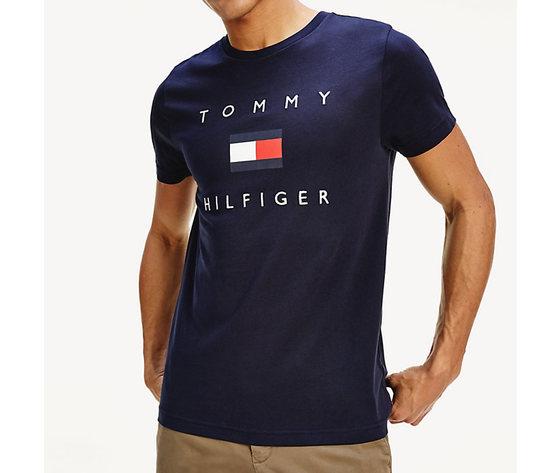 T shirt uomo blu tommy hilfiger desert sky logo flag frontale cotone bio art. mw0mw14313 dw5