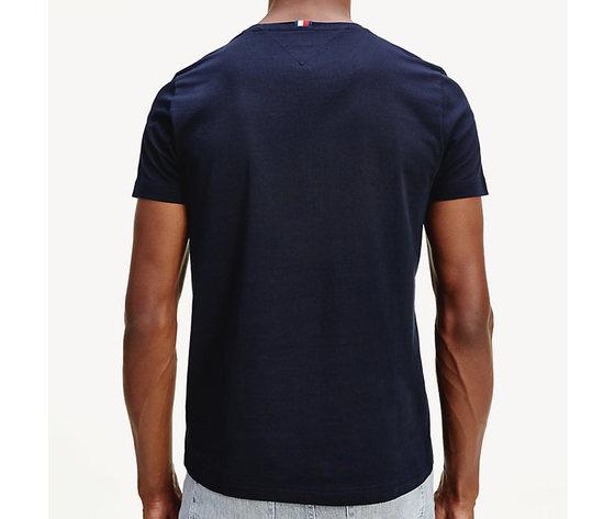 T shirt uomo blu tommy hilfiger global stripe strisce orizzontali bianco e rosse cotone bio art. mw0mw14337 dw5 1