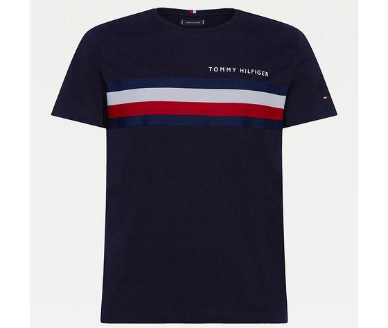 T shirt uomo blu tommy hilfiger global stripe strisce orizzontali bianco e rosse cotone bio art. mw0mw14337 dw5 2