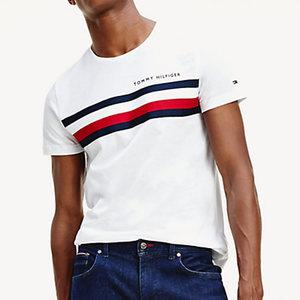 T-Shirt Uomo Bianca Tommy Hilfiger Global Stripe Strisce Orizzontali Bianco Blu e Rosso Cotone Bio art. MW0MW14337 YBR