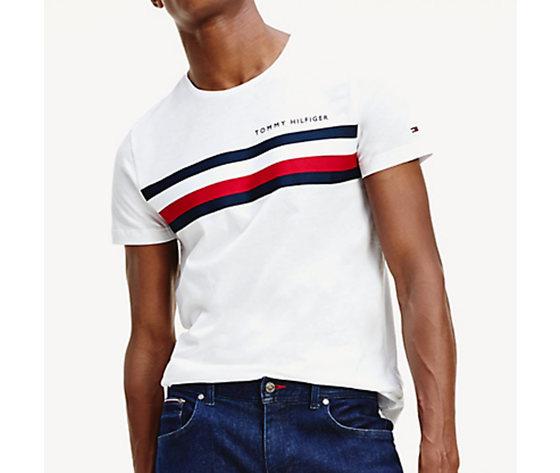 T shirt uomo bianca tommy hilfiger global stripe strisce orizzontali bianco blu e rosse cotone bio art. mw0mw14337 ybr