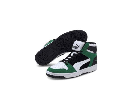 Scarpe uomo puma rebound layup sd high bianco nero verde sneakers alte art. 370219 05 %282%29