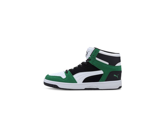 Scarpe uomo puma rebound layup sd high bianco nero verde sneakers alte art. 370219 05 %283%29