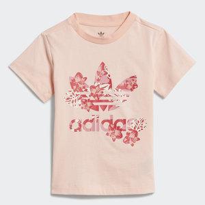 T-Shirt Bambina Rosa Stampa Floreale Adidas Originals Trefoil Tee Haze Coral / Multicolor art. GD2887