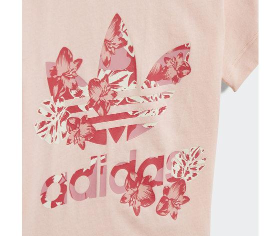 T shirt bambina rosa stampa floreale adidas originals trefoil tee haze coral multicolor art. gd2887 2