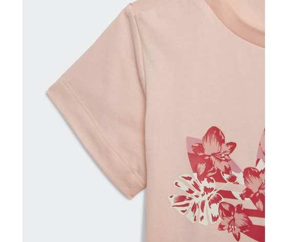 T shirt bambina rosa stampa floreale adidas originals trefoil tee haze coral multicolor art. gd2887 3